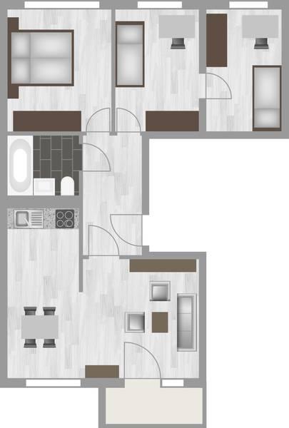 Schöne Appartementwohnung mit Balkon, EBK und PKW- Stellplatz.