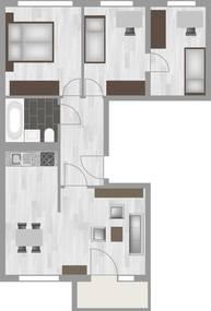 Grundriss 4-Raum-Wohnung