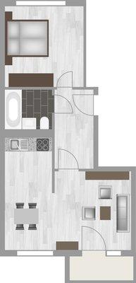 Grundriss: 2-Raum-Wohnung Schilfstraße 29