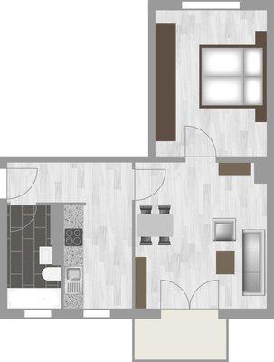 Grundriss: 2-Raum-Wohnung Moskauer Straße 17