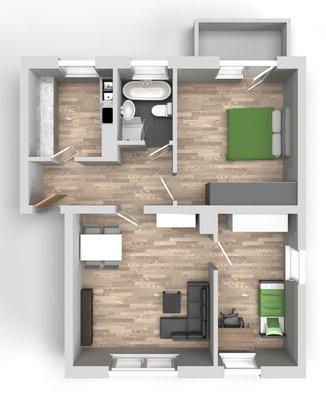 Grundriss: 3-Raum-Wohnung Ernst-Eckstein-Straße 31