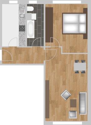 Grundriss: 2-Raum-Wohnung Plutostraße 8
