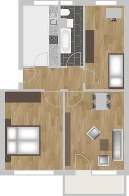 Grundriss: 3-Raum-Wohnung Südstadtring 27