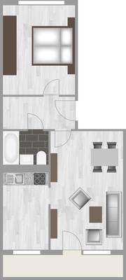 Grundriss: 2-Raum-Wohnung Salzbinsenweg 4