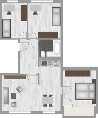 Grundriss: 4-Raum-Wohnung Voßstraße 9