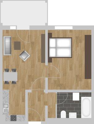 Grundriss: 2-Raum-Wohnung Linzer Straße 25
