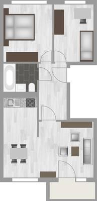 Grundriss: 3-Raum-Wohnung Alte Heerstraße 202