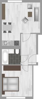 Grundriss: 2-Raum-Wohnung Erich-Kästner-Straße 4