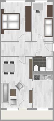 Grundriss: 2-Raum-Wohnung Lindenweg 7