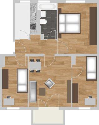 Grundriss: 4-Raum-Wohnung St. Petersburger Straße 11