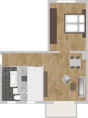 Grundriss: 2-Raum-Wohnung Paul-Suhr-Straße 55