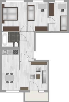 Grundriss: 4-Raum-Wohnung Hanoier Straße 49