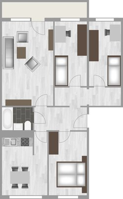 Grundriss: 4-Raum-Wohnung Lindenweg 10