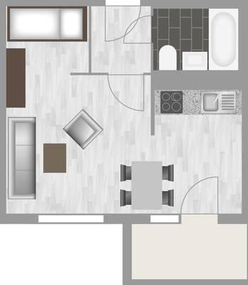 Grundriss: 1-Raum-Wohnung Weißenfelser Straße 45