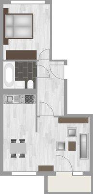Grundriss: 2-Raum-Wohnung Schilfstraße 3