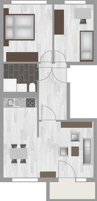 Grundriss: 3-Raum-Wohnung Schilfstraße 19