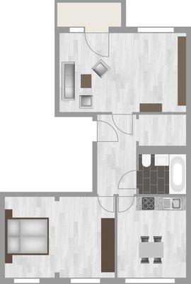Grundriss: 2-Raum-Wohnung Hanoier Straße 49