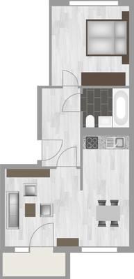 Grundriss: 2-Raum-Wohnung Hanoier Straße 57