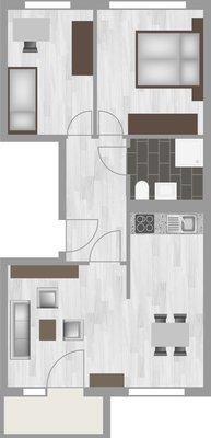 Grundriss: 3-Raum-Wohnung Genthiner Straße 15