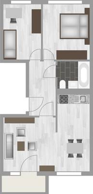 Grundriss: 3-Raum-Wohnung Erich-Kästner-Straße 10