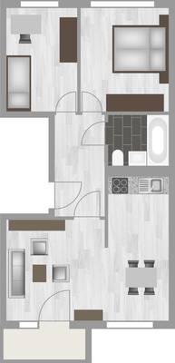 Grundriss: 3-Raum-Wohnung Riedweg 11
