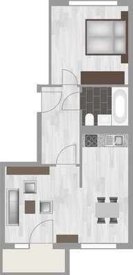 Grundriss: 2-Raum-Wohnung Am Rosengarten 83c