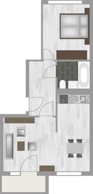 Grundriss: 2-Raum-Wohnung Am Hohen Ufer 8