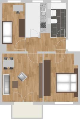 Grundriss: 3-Raum-Wohnung Warschauer Straße 12