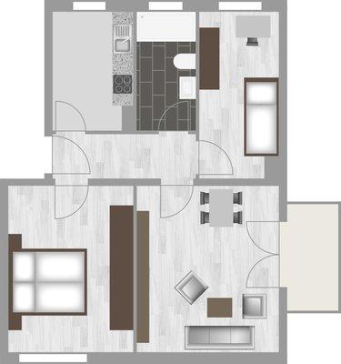 Grundriss: 3-Raum-Wohnung Paul-Suhr-Straße 85