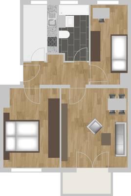 Grundriss: 3-Raum-Wohnung Vogelweide 50