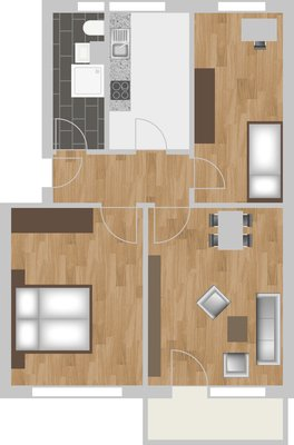 Grundriss: 3-Raum-Wohnung Victor-Klemperer-Straße 12