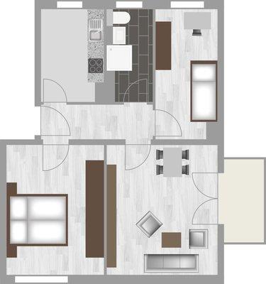 Grundriss: 3-Raum-Wohnung Pekinger Straße 10