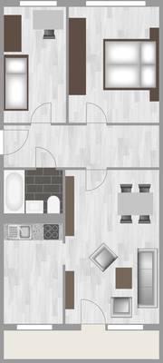 Grundriss: 3-Raum-Wohnung Heidekrautweg 1