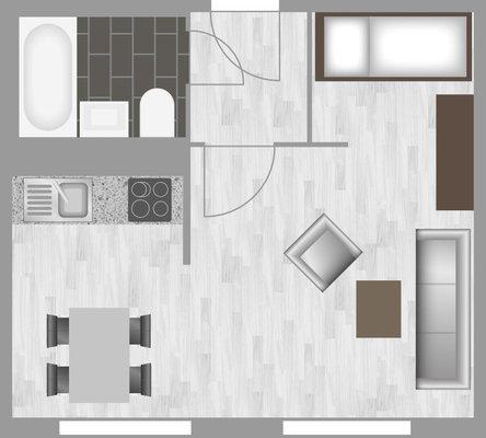 Grundriss: 1-Raum-Wohnung Weißenfelser Straße 23