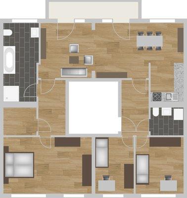 Grundriss: 4-Raum-Wohnung Guldenstraße 23