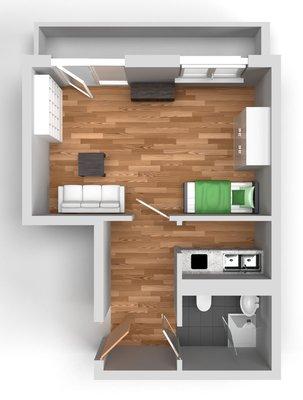 Grundriss: 1-Raum-Wohnung Rigaer Straße 10