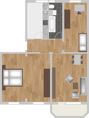 Grundriss: 3-Raum-Wohnung Schützenstraße 3