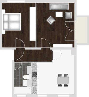 Grundriss: 2-Raum-Wohnung Warschauer Straße 35
