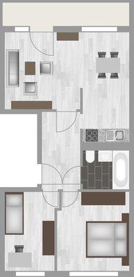 Grundriss: 3-Raum-Wohnung Rigaer Straße 10