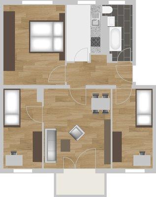 Grundriss: 4-Raum-Wohnung Vogelweide 30