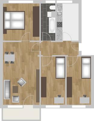 Grundriss: 4-Raum-Wohnung Hildesheimer Straße 13