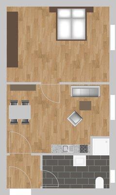 Grundriss: 1-Raum-Wohnung Eugen-Schönhaar-Straße 8