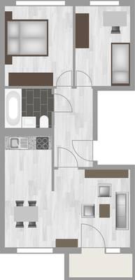 Grundriss: 3-Raum-Wohnung Erich-Kästner-Straße 11