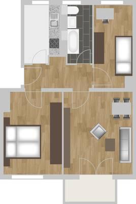 Grundriss: 3-Raum-Wohnung Moskauer Straße 26