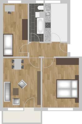 Grundriss: 3-Raum-Wohnung Hildesheimer Straße 19