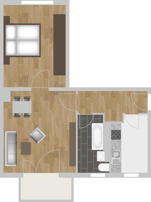 Grundriss: 2-Raum-Wohnung Vogelweide 65