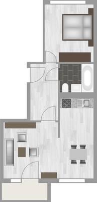 Grundriss: 2-Raum-Wohnung Am Hohen Ufer 34