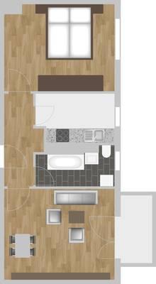 Grundriss: 2-Raum-Wohnung Vogelweide 66