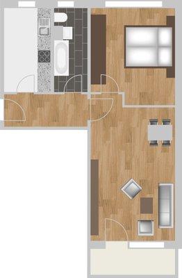Grundriss: 2-Raum-Wohnung Plutostraße 4