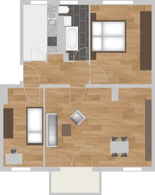 Grundriss: 3-Raum-Wohnung Vogelweide 32